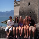 Begin the adventure in Swiss Alps. Here, student pause for a photo in front of the magnificent Chateau de Chillon and Geneva Lake during a day-trip to Montreaux.