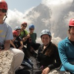 The group takes a break on the Via Ferratta to enjoy the spectacular views.