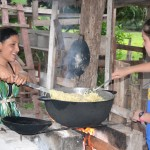 In our village, we live together as a group in a simple house and form cooking and cleaning crews to help local women prepare traditional Tico meals.