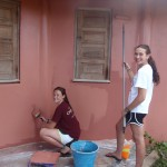 Last year's group painted the outside of the new school as one of their projects.