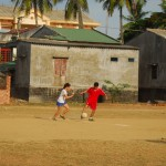 Afternoons allow for a pick up game of soccer with local friends...