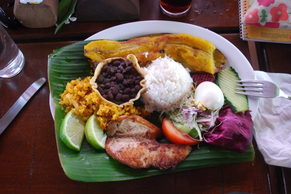 A typical Costa Rican meal includes rice and beans, plantains, fresh vegetables and fruit, and chicken, fish, or eggs.
