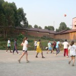 Play basketball behind the hospital with kids visiting sick family members.