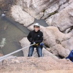 Learn basic rock climbing and rappelling with professional guides.