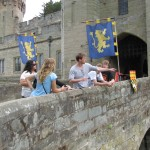The Archaeology instructor points out features of Warwick Castle in England.