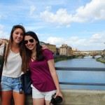 In Florence, students pause as they traverse the Ponte alle Grazie to take advantage of a photo opportunity in front of the Ponte Vecchio.