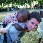 Kevin makes a friend, Lozi, Malawi.