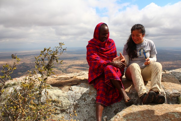Alicia, with a Maasai elder