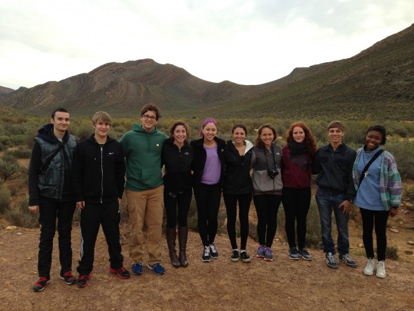 Francesca, far right, with her group in South Africa