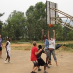 A game of basketball with Rwandan friends is a fun way to relax at the end of the day.