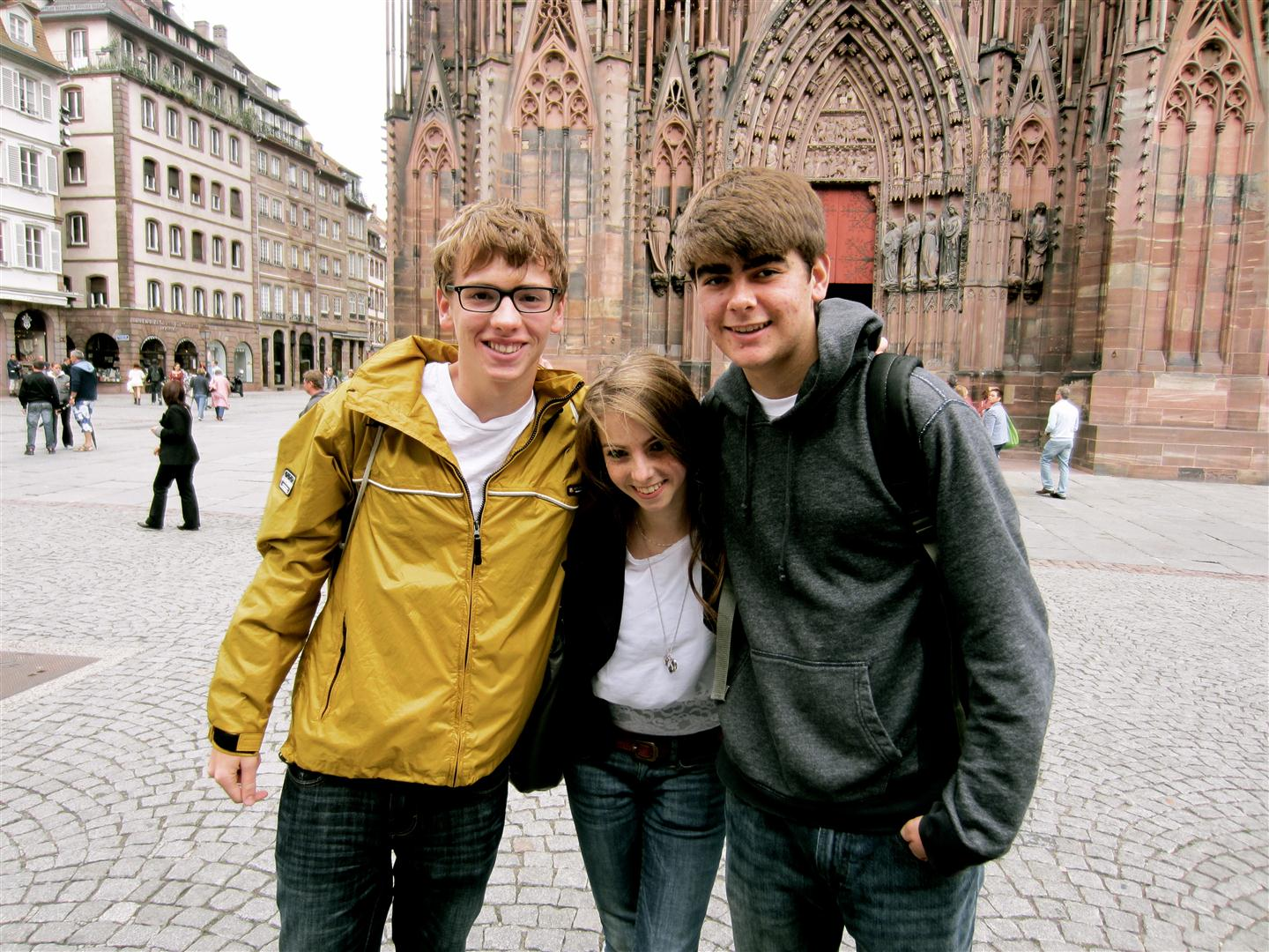 Keenan, left, enjoys a stop at Strasbourg Cathedral with his French host sister and a fellow Putney student.