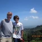 Jack (at left), hiking the highlands, eastern Cabanas province, El Salvador.