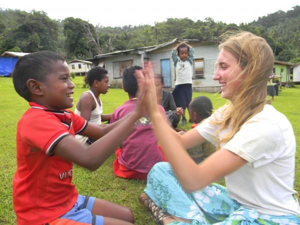 High School Students Volunteer in Fiji with School Children