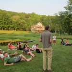 Putney Student Travel Co-Director, Jeff Shumlin, offers a welcome and big thanks to the crowd.