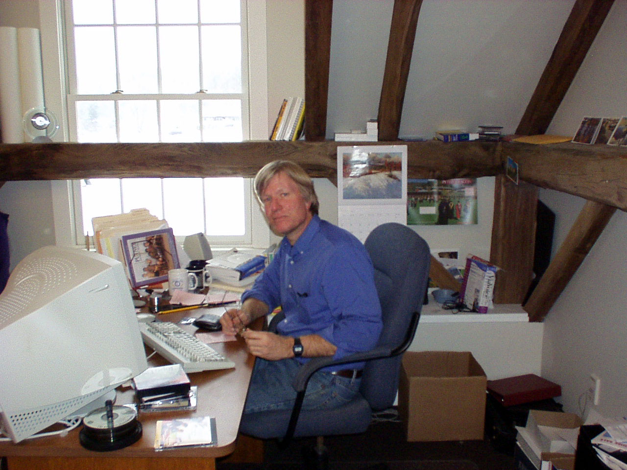 Jim at his desk.  Circa 2002.  Look at that dinosaur of a computer!