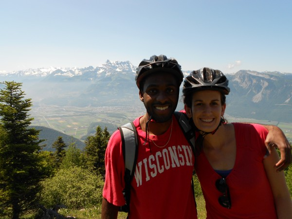 Jarell sports some Badger pride with his 2013 co-leader in the Alps.