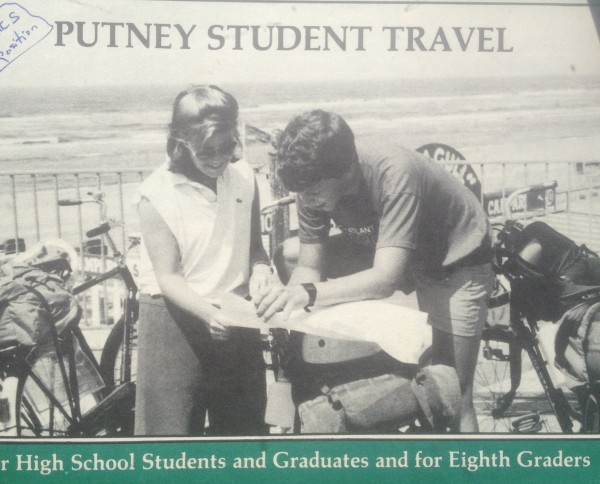 Bruce Feiler, right, on the cover of a Putney Student Travel brochure in 1985.