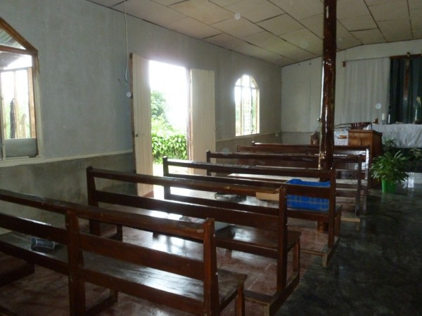 The church with newly furnished walls.