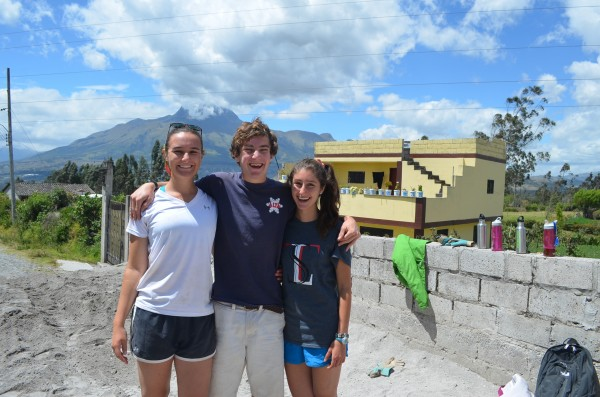 Kate, left, with friends on her Community Service Ecuador program.