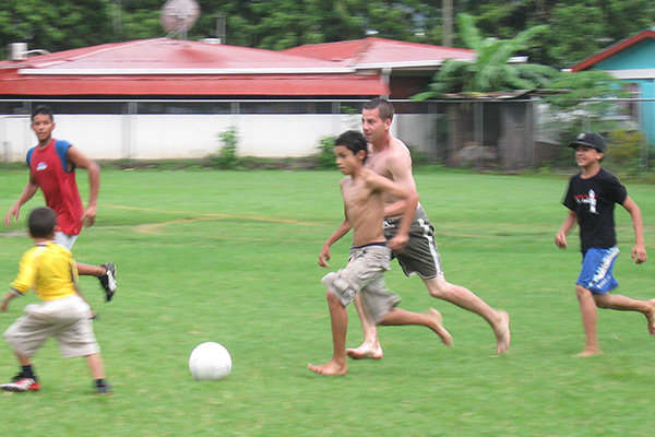 Students play soccer on our cultural exploration program in Costa Rica