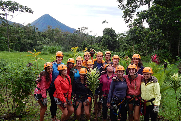 Students Ziplining on our Costa Rica Travel Program