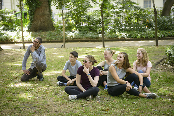 Students spend time on campus in London