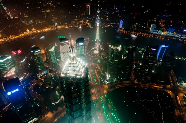 A night shot from our trip to Shanghai's World Financial Center, the highest observation tower in the world.