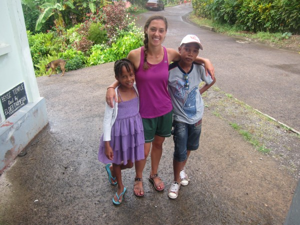 Anna Kayes with local friends on our Community Service Dominica program.