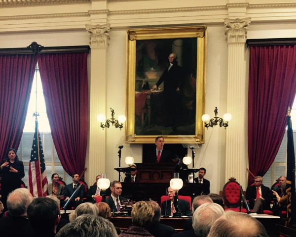 Governor Peter Shumlin delivering his 3rd term inauguration speech.