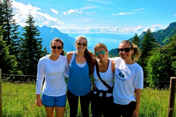 Stephanie's daughter Isabella, second from left, in the Alps on our Switzerland, Italy, France, and Holland program.