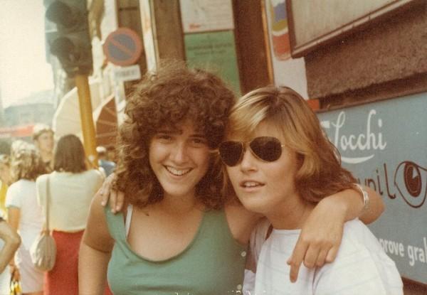 Stephanie, left, on her Putney program in the 1980s.